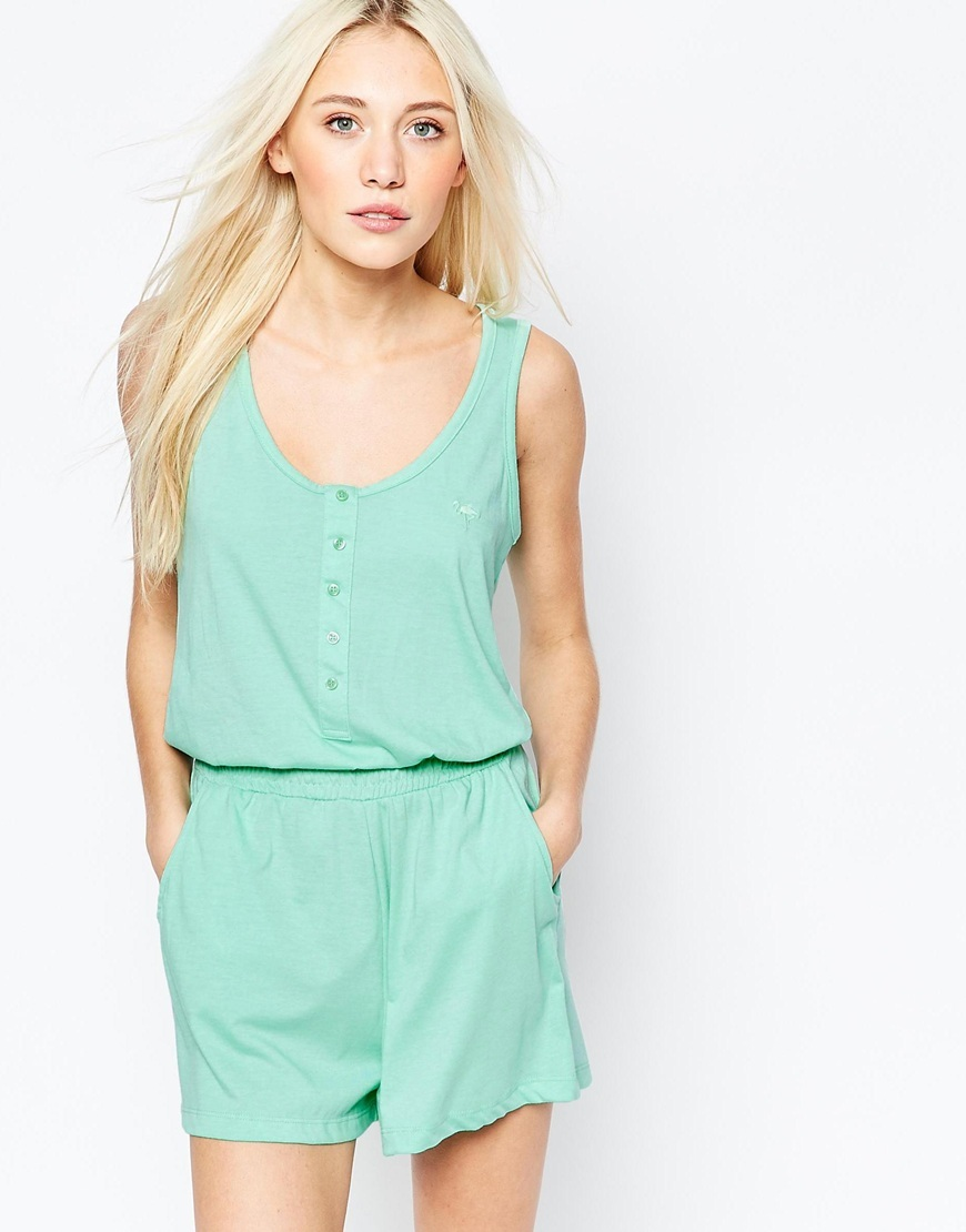 Jersey Sleeveless Playsuit Opal - pattern: plain; sleeve style: sleeveless; length: short shorts; predominant colour: pistachio; occasions: casual; fit: body skimming; neckline: scoop; fibres: cotton - 100%; sleeve length: sleeveless; style: playsuit; pattern type: fabric; texture group: jersey - stretchy/drapey; season: s/s 2016; wardrobe: highlight