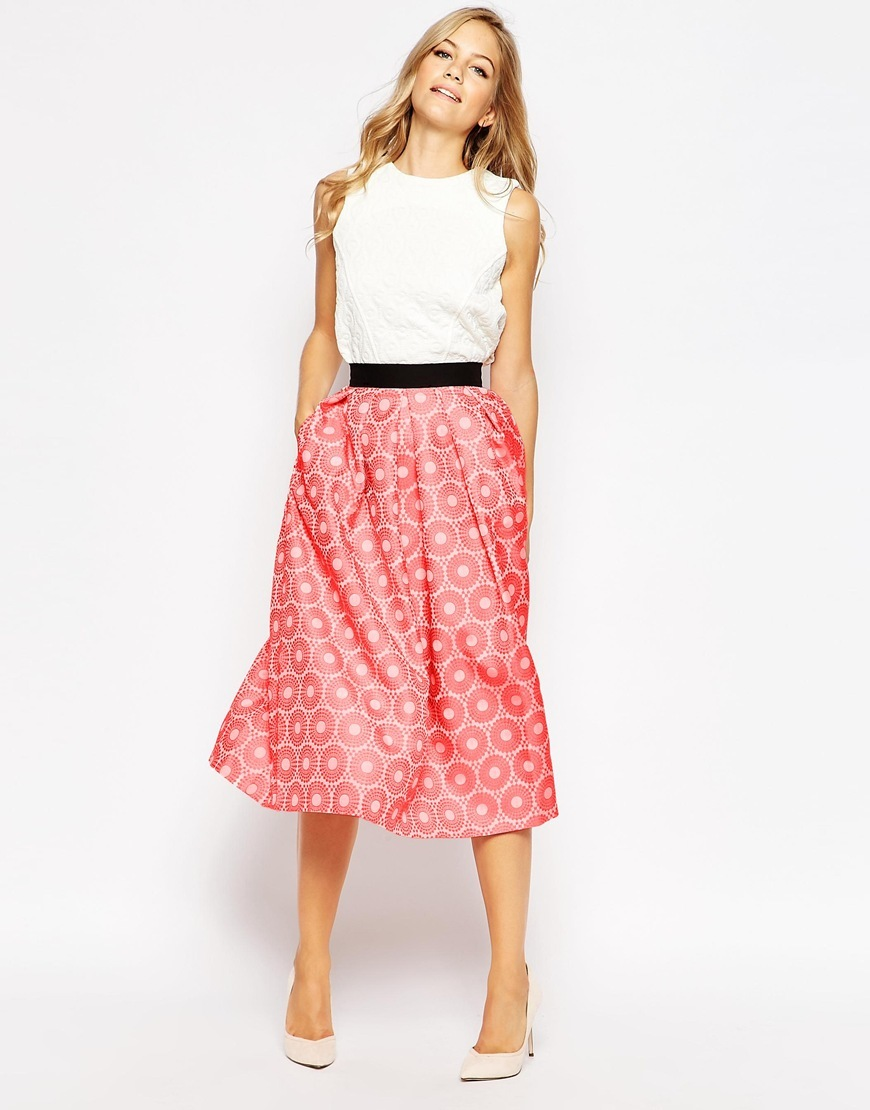 Closet Pleat Waist Midi Skirt Orange - length: below the knee; style: full/prom skirt; fit: loose/voluminous; waist: high rise; secondary colour: ivory/cream; predominant colour: hot pink; fibres: polyester/polyamide - 100%; occasions: occasion; pattern type: fabric; pattern: patterned/print; texture group: woven light midweight; pattern size: standard (bottom); season: s/s 2016; wardrobe: event