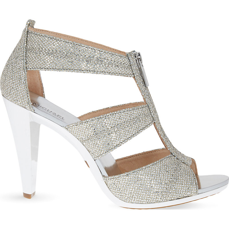 Berkley Glitter Embellished Leather Heeld Sandals, Women's, Eur 40 / 7 Uk Women, Silver - predominant colour: silver; occasions: evening, occasion; material: faux leather; heel height: high; ankle detail: ankle strap; heel: stiletto; toe: open toe/peeptoe; style: strappy; finish: metallic; pattern: plain; season: s/s 2016; wardrobe: event