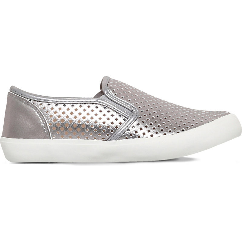 Laila Laser Cut Trainers, Women's, Eur 40 / 7 Uk Women, Dark Gray - occasions: casual, creative work; material: leather; heel height: flat; toe: round toe; finish: metallic; pattern: plain; predominant colour: pewter; shoe detail: moulded soul; style: skate shoes; season: s/s 2016; wardrobe: highlight