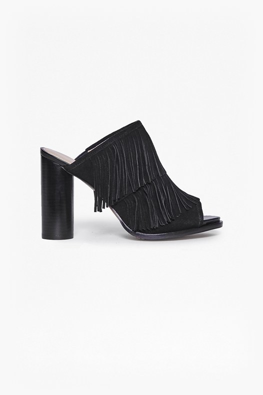 Uriah Fringed Suede Mules Black - predominant colour: navy; occasions: evening, creative work; material: suede; heel height: high; heel: block; toe: open toe/peeptoe; style: mules; finish: plain; pattern: plain; embellishment: fringing; season: s/s 2016; wardrobe: highlight
