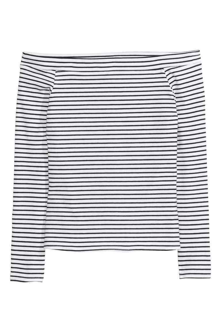 Off The Shoulder Top - neckline: off the shoulder; pattern: horizontal stripes; secondary colour: white; predominant colour: navy; occasions: casual; length: standard; style: top; fibres: cotton - stretch; fit: body skimming; sleeve length: long sleeve; sleeve style: standard; pattern type: fabric; texture group: jersey - stretchy/drapey; multicoloured: multicoloured; season: s/s 2016; wardrobe: highlight