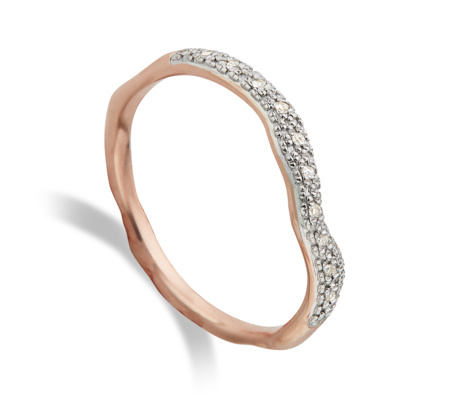 Rose Gold Vermeil Riva Diamond Wave Stacking Ring Diamond - secondary colour: silver; predominant colour: gold; occasions: evening, occasion; style: band; size: small/fine; material: chain/metal; finish: metallic; embellishment: chain/metal; season: s/s 2016; wardrobe: event