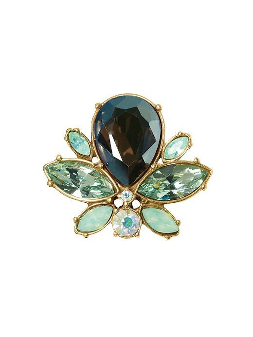 Jeweled Bee Ring Mint Br - secondary colour: dark green; predominant colour: gold; occasions: evening, creative work; style: cocktail; size: large/oversized; material: chain/metal; finish: plain; embellishment: jewels/stone; multicoloured: multicoloured; season: s/s 2016; wardrobe: highlight