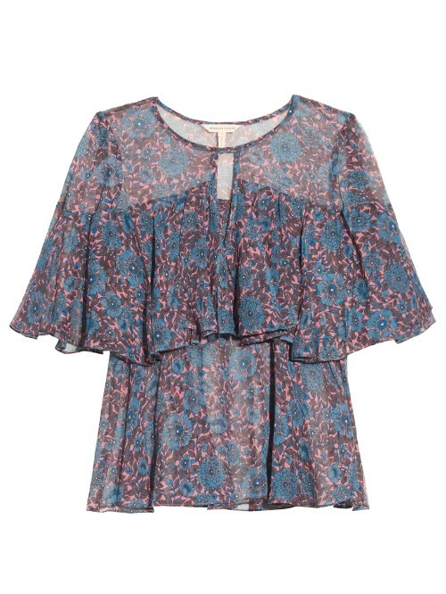 Floral Print Ruffled Silk Chiffon Top - secondary colour: pink; predominant colour: denim; occasions: casual; length: standard; style: top; neckline: peep hole neckline; fibres: silk - 100%; fit: body skimming; sleeve length: short sleeve; sleeve style: standard; texture group: sheer fabrics/chiffon/organza etc.; pattern type: fabric; pattern size: standard; pattern: patterned/print; multicoloured: multicoloured; season: s/s 2016; wardrobe: highlight
