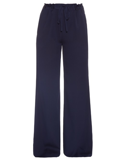 Davin Trousers - length: standard; pattern: plain; style: palazzo; waist: high rise; waist detail: belted waist/tie at waist/drawstring; predominant colour: navy; occasions: casual, creative work; fibres: silk - mix; texture group: silky - light; fit: wide leg; pattern type: fabric; pattern size: standard (bottom); season: s/s 2016; wardrobe: basic