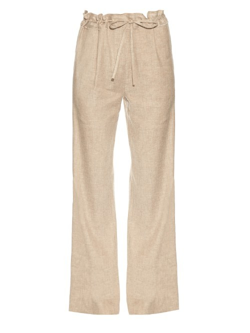 Davin Trousers - length: standard; pattern: plain; waist detail: belted waist/tie at waist/drawstring; waist: mid/regular rise; predominant colour: stone; occasions: casual; fibres: linen - 100%; texture group: linen; fit: wide leg; pattern type: fabric; style: standard; season: s/s 2016