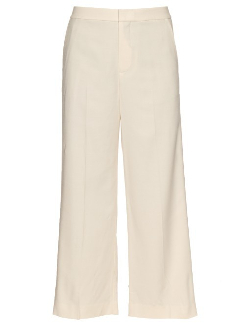 Cropped Wool Crepe Trousers - pattern: plain; waist: high rise; predominant colour: ivory/cream; length: calf length; fibres: wool - mix; waist detail: feature waist detail; texture group: crepes; fit: wide leg; pattern type: fabric; style: standard; occasions: creative work; season: s/s 2016; wardrobe: basic