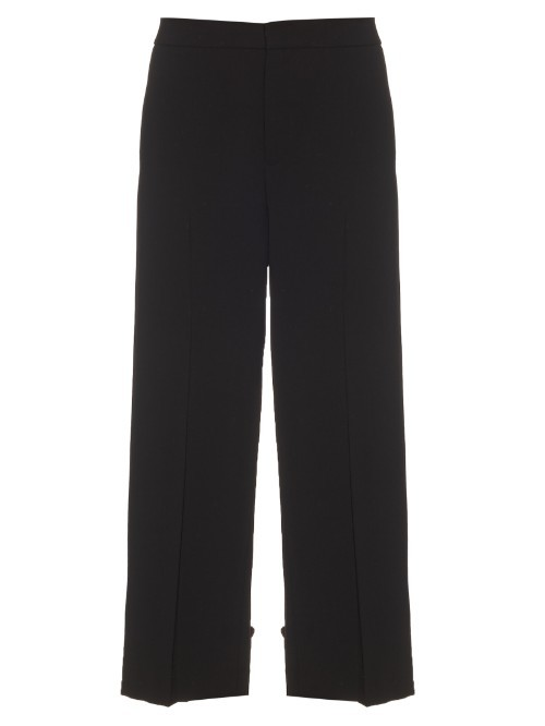Cropped Wool Crepe Trousers - pattern: plain; pocket detail: pockets at the sides; waist: mid/regular rise; predominant colour: black; length: ankle length; fibres: wool - mix; jeans & bottoms detail: turn ups; texture group: crepes; fit: wide leg; pattern type: fabric; style: standard; occasions: creative work; season: s/s 2016; wardrobe: basic