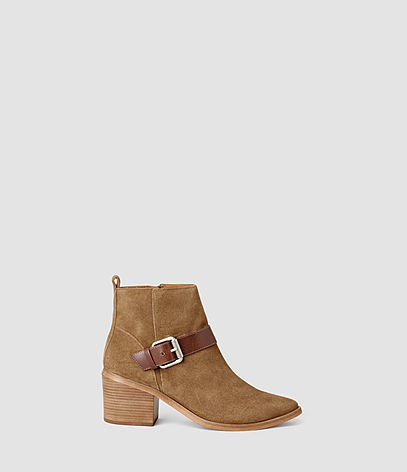 Jason Heel Boot - predominant colour: camel; occasions: casual, creative work; material: suede; heel height: mid; embellishment: buckles; heel: block; toe: round toe; boot length: ankle boot; style: standard; finish: plain; pattern: plain; season: s/s 2016; wardrobe: basic