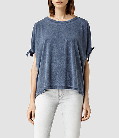 Catkin Tee - neckline: round neck; pattern: plain; style: t-shirt; predominant colour: denim; occasions: casual, creative work; length: standard; fibres: polyester/polyamide - mix; fit: loose; sleeve length: short sleeve; sleeve style: standard; pattern type: fabric; texture group: jersey - stretchy/drapey; season: s/s 2016; wardrobe: highlight