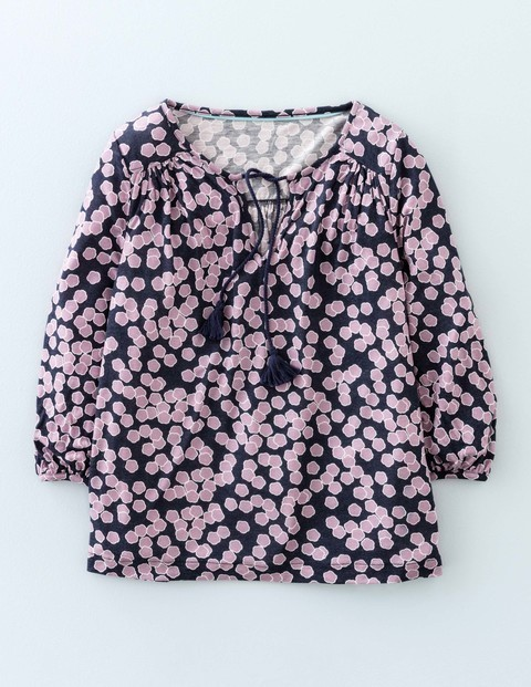Boho Jersey Top Navy Blossom Women, Navy Blossom - neckline: round neck; style: blouson; predominant colour: pink; secondary colour: black; occasions: casual, creative work; length: standard; fibres: viscose/rayon - stretch; fit: body skimming; sleeve length: 3/4 length; sleeve style: standard; pattern type: fabric; pattern: patterned/print; texture group: jersey - stretchy/drapey; season: s/s 2016; wardrobe: highlight