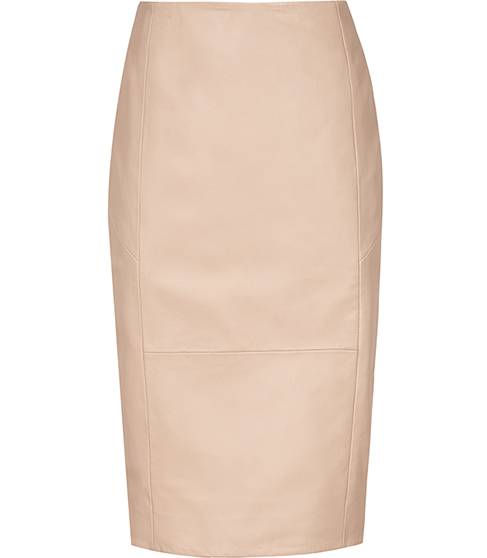 Essie Leather Pencil Skirt - pattern: plain; style: pencil; fit: body skimming; waist: mid/regular rise; predominant colour: nude; occasions: evening; length: just above the knee; fibres: leather - 100%; texture group: leather; pattern type: fabric; season: s/s 2016; wardrobe: event