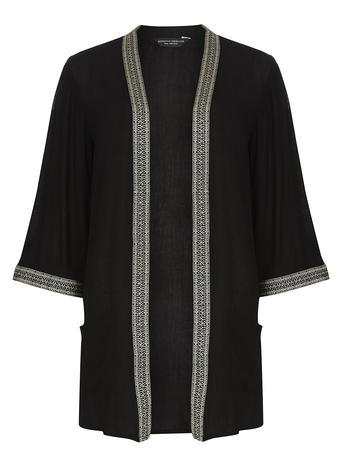 Womens **Tall Embroidered Pocket Kimono Black - pattern: plain; collar: round collar/collarless; fit: loose; length: below the bottom; predominant colour: black; fibres: viscose/rayon - 100%; sleeve length: 3/4 length; sleeve style: standard; collar break: low/open; pattern type: fabric; texture group: other - light to midweight; embellishment: embroidered; style: fluid/kimono; occasions: creative work; season: s/s 2016; wardrobe: highlight