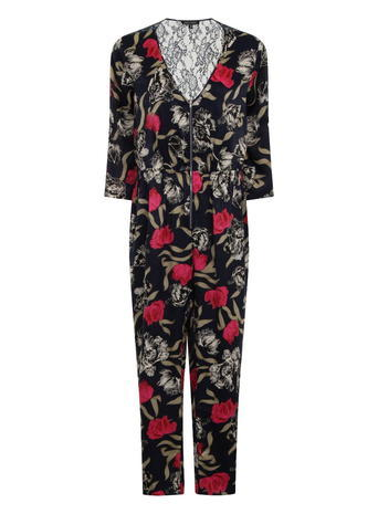 Womens **Girls On Film Navy Floral Print Jumpsuit Blue - neckline: v-neck; secondary colour: true red; predominant colour: black; occasions: evening; length: ankle length; fit: body skimming; fibres: polyester/polyamide - 100%; sleeve length: long sleeve; sleeve style: standard; style: jumpsuit; pattern type: fabric; pattern: florals; texture group: jersey - stretchy/drapey; season: s/s 2016; wardrobe: event