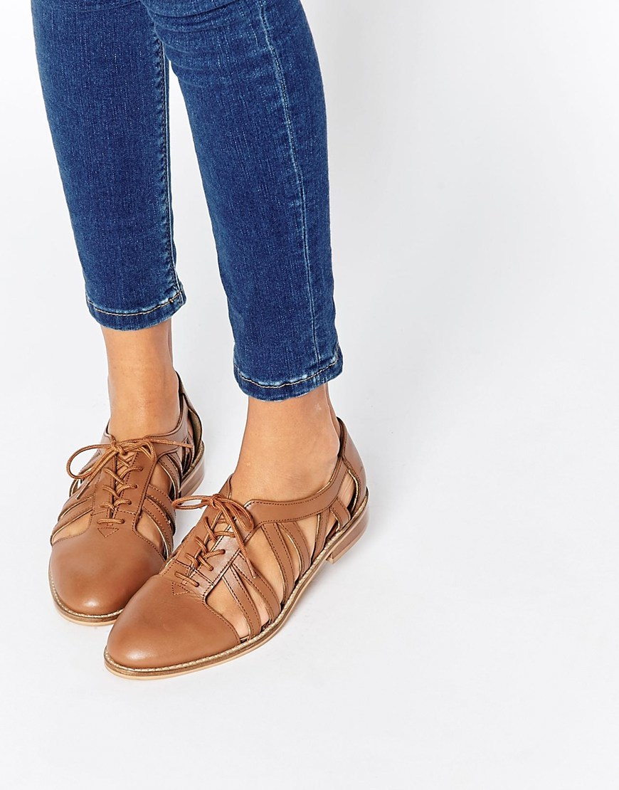 Membership Leather Flat Shoes Tan - predominant colour: tan; occasions: casual, creative work; material: leather; heel height: flat; ankle detail: ankle strap; toe: round toe; style: ballerinas / pumps; finish: plain; pattern: plain; season: s/s 2016; wardrobe: highlight