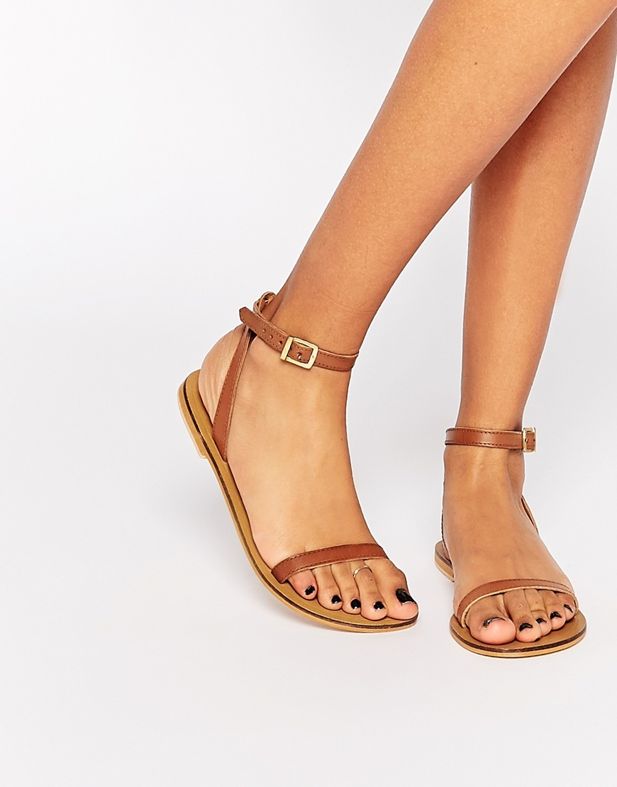 Finlay Leather Flat Sandals Tan - predominant colour: tan; occasions: casual, holiday; material: leather; heel height: flat; ankle detail: ankle strap; heel: block; toe: open toe/peeptoe; style: strappy; finish: plain; pattern: plain; season: s/s 2016; wardrobe: highlight