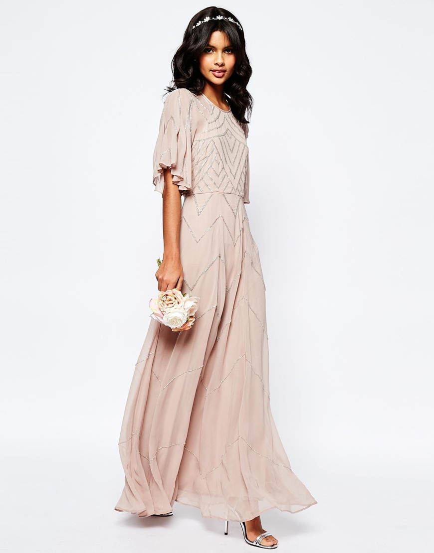 Wedding Embellished Flutter Sleeve Maxi Dress Mink - neckline: round neck; sleeve style: angel/waterfall; style: maxi dress; predominant colour: blush; occasions: evening, occasion; length: floor length; fit: soft a-line; fibres: polyester/polyamide - 100%; sleeve length: half sleeve; texture group: sheer fabrics/chiffon/organza etc.; pattern type: fabric; pattern size: light/subtle; pattern: patterned/print; embellishment: beading; season: s/s 2016; wardrobe: event