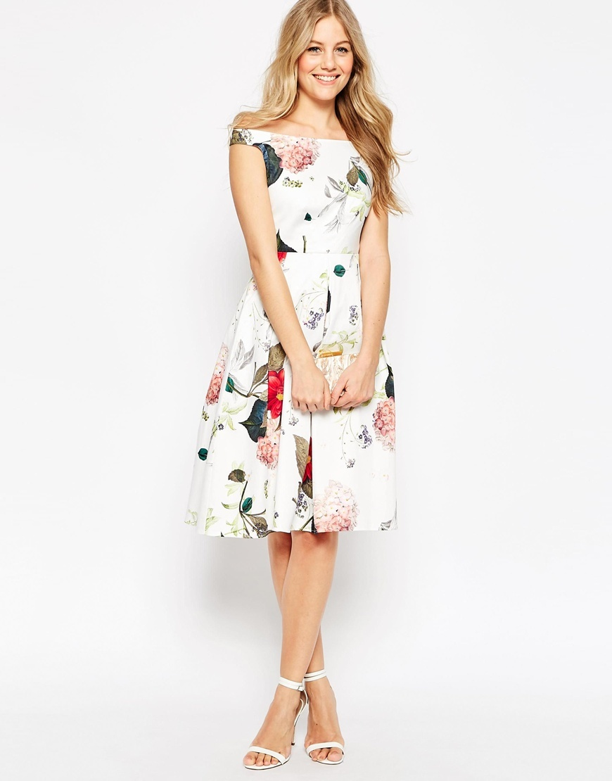 Off The Shoulder Midi Prom Dress In Botanical Floral Multi - length: below the knee; neckline: off the shoulder; sleeve style: capped; style: prom dress; predominant colour: white; secondary colour: pink; occasions: evening, occasion; fit: fitted at waist & bust; fibres: cotton - stretch; sleeve length: short sleeve; pattern type: fabric; pattern: florals; texture group: jersey - stretchy/drapey; multicoloured: multicoloured; season: s/s 2016; wardrobe: event