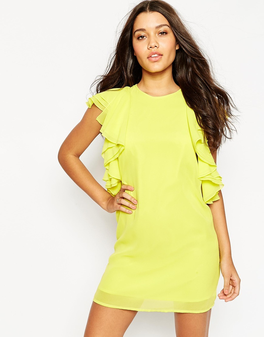Ruffle Front Mini Shift Dress Mint - style: shift; length: mini; sleeve style: angel/waterfall; pattern: plain; predominant colour: yellow; occasions: evening; fit: body skimming; fibres: polyester/polyamide - 100%; neckline: crew; sleeve length: short sleeve; bust detail: bulky details at bust; pattern type: fabric; texture group: other - light to midweight; season: s/s 2016; wardrobe: event