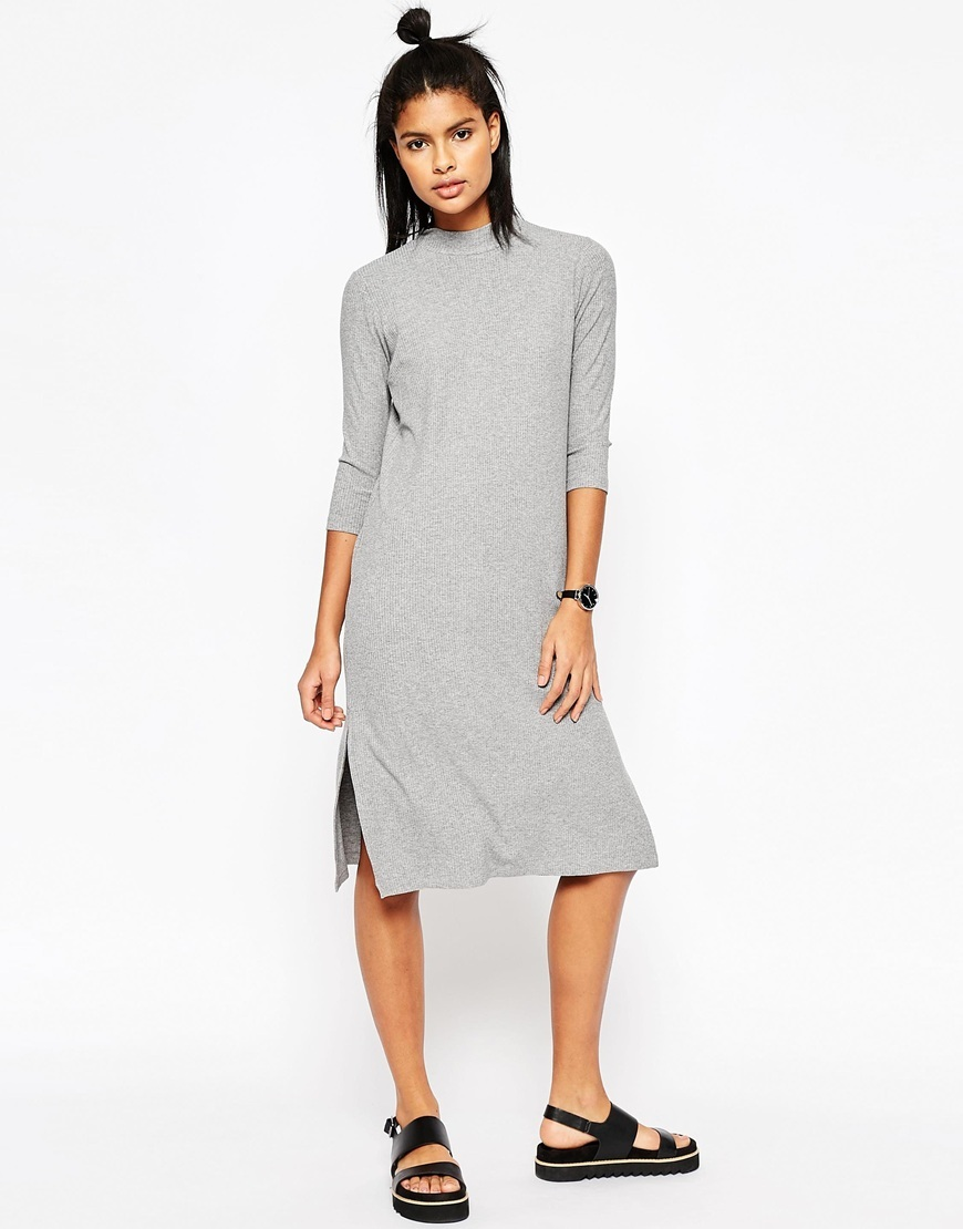 High Neck Column Dress In Rib Grey - length: below the knee; fit: tight; pattern: plain; neckline: high neck; style: bodycon; hip detail: draws attention to hips; predominant colour: light grey; occasions: casual; fibres: viscose/rayon - stretch; sleeve length: 3/4 length; sleeve style: standard; texture group: jersey - clingy; pattern type: fabric; season: s/s 2016; wardrobe: basic