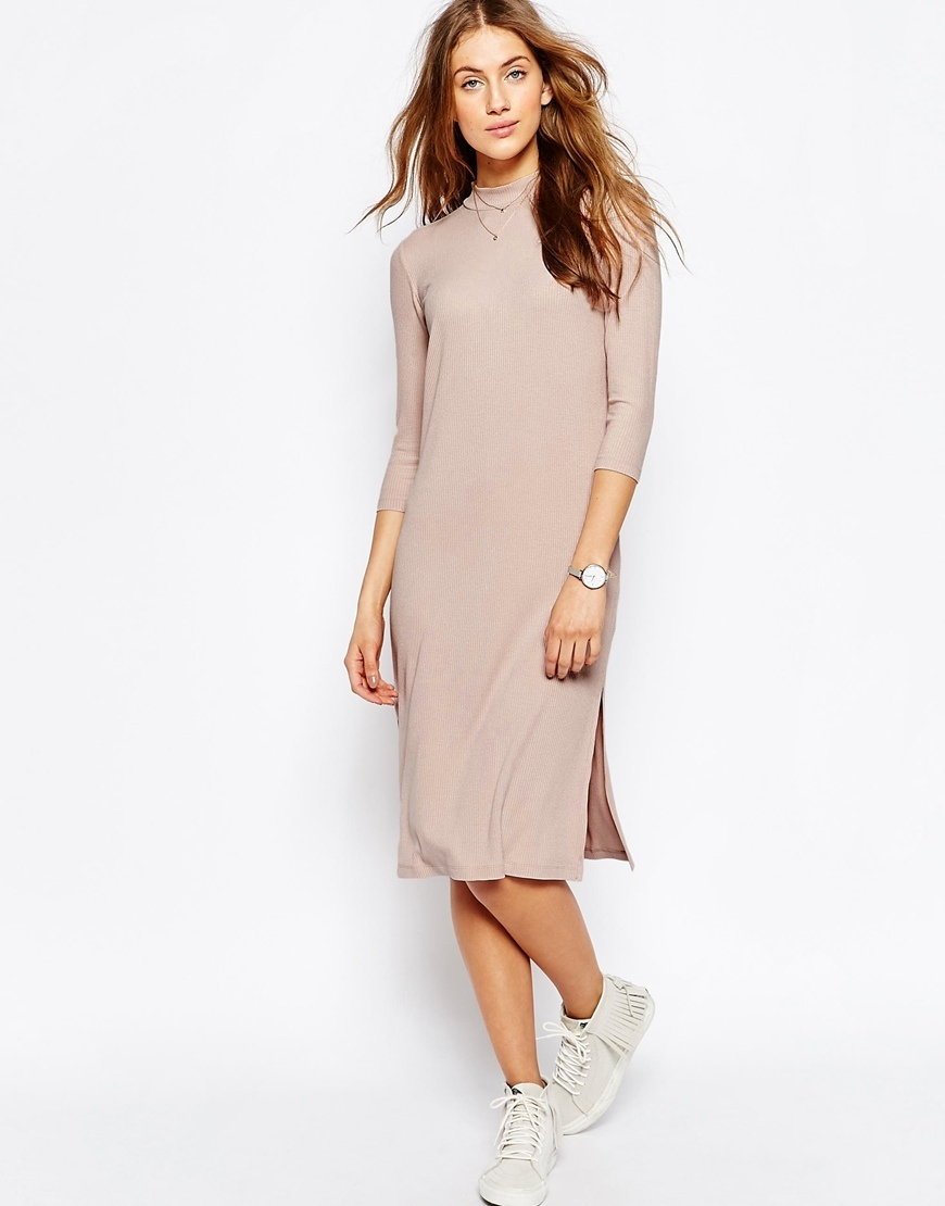 High Neck Column Dress In Rib Pink - style: shift; length: below the knee; pattern: plain; predominant colour: pink; occasions: casual, creative work; fit: body skimming; fibres: polyester/polyamide - stretch; neckline: crew; sleeve length: 3/4 length; sleeve style: standard; pattern type: fabric; texture group: jersey - stretchy/drapey; season: s/s 2016; wardrobe: highlight