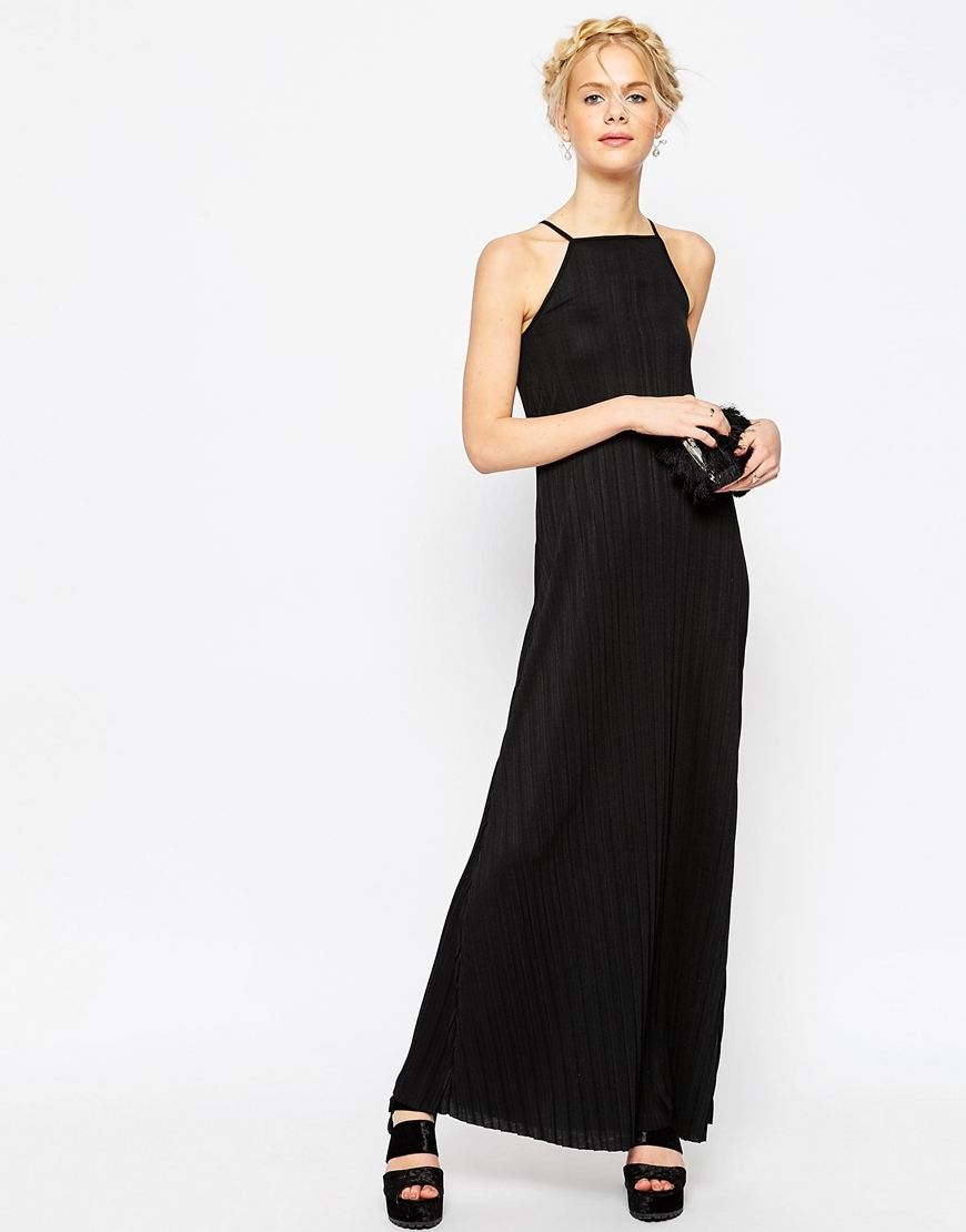 Pleated Swing Maxi Dress Black - neckline: high square neck; pattern: plain; sleeve style: sleeveless; style: maxi dress; length: ankle length; predominant colour: black; occasions: evening; fit: body skimming; fibres: polyester/polyamide - 100%; sleeve length: sleeveless; pattern type: fabric; texture group: jersey - stretchy/drapey; season: s/s 2016; wardrobe: event