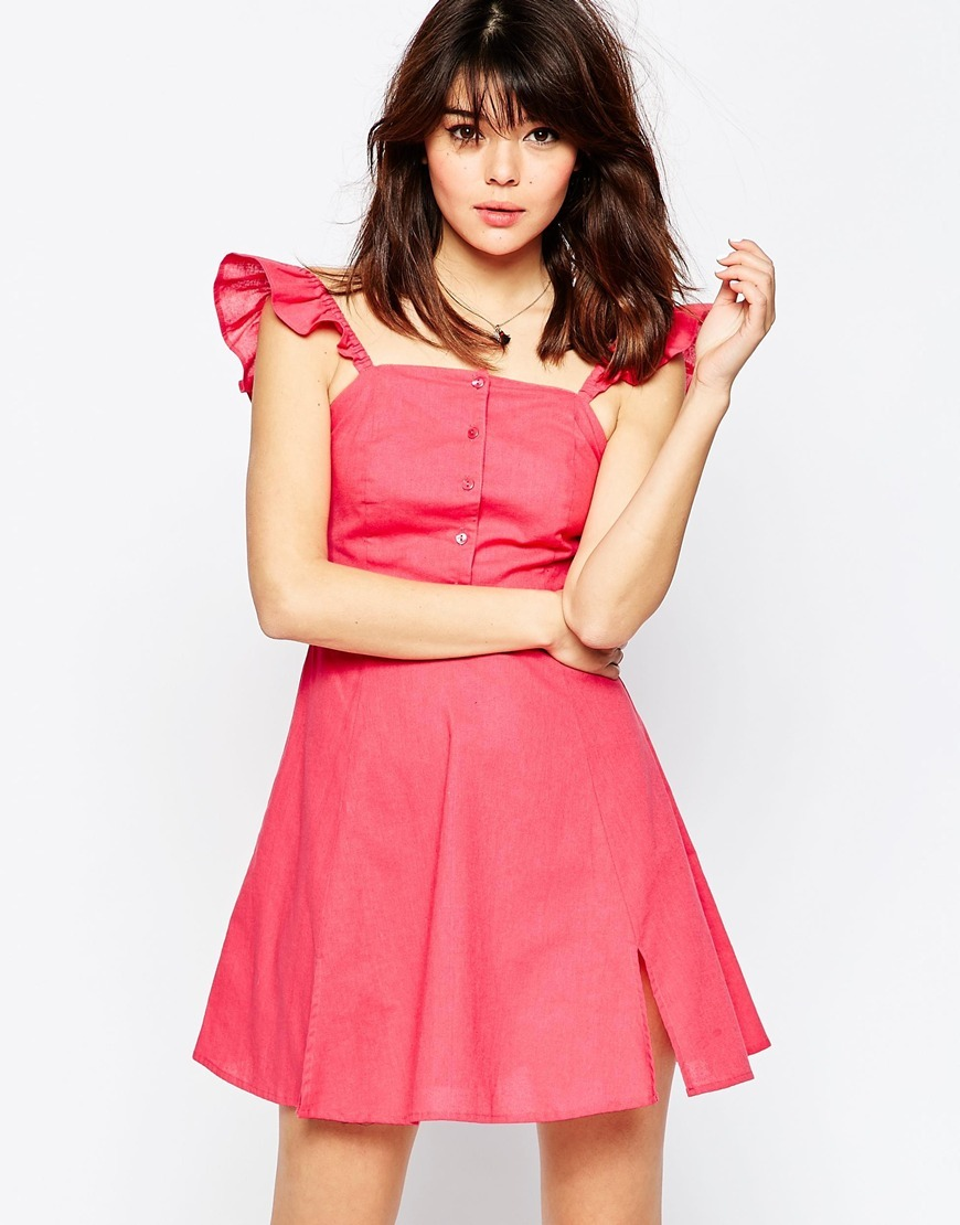 Button Through Mini Skater Sundress Pink - length: mid thigh; pattern: plain; sleeve style: sleeveless; style: sundress; predominant colour: hot pink; occasions: casual; fit: soft a-line; fibres: cotton - 100%; sleeve length: sleeveless; neckline: medium square neck; pattern type: fabric; texture group: woven light midweight; season: s/s 2016; wardrobe: highlight