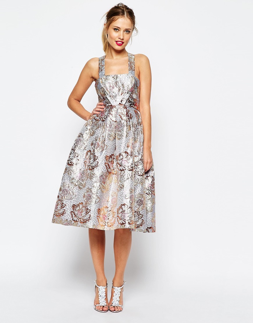 Salon Metallic Jacquard Midi Prom Dress Multi - length: calf length; sleeve style: sleeveless; style: prom dress; predominant colour: silver; occasions: evening, occasion; fit: fitted at waist & bust; fibres: polyester/polyamide - mix; sleeve length: sleeveless; neckline: medium square neck; pattern type: fabric; pattern: florals; texture group: brocade/jacquard; season: s/s 2016