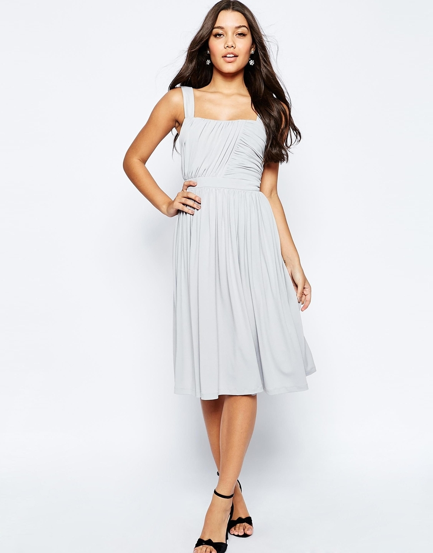 Slinky Ruched Bodice Midi Dress With Wide Straps Grey - length: below the knee; pattern: plain; sleeve style: sleeveless; style: prom dress; predominant colour: light grey; fit: fitted at waist & bust; fibres: polyester/polyamide - stretch; occasions: occasion; sleeve length: sleeveless; neckline: low square neck; pattern type: fabric; texture group: other - light to midweight; season: s/s 2016; wardrobe: event