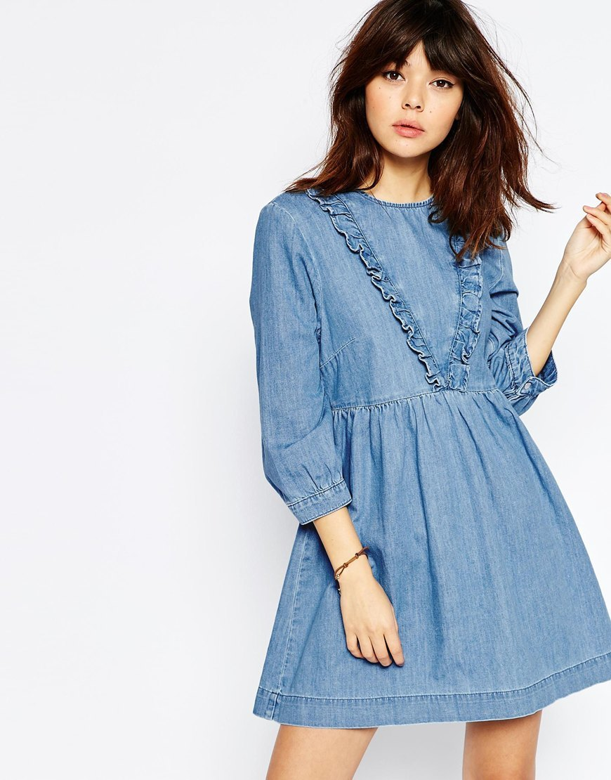Denim Smock Dress With Ruffle Detail In Mid Blue Mid Stonewash - length: mid thigh; fit: loose; pattern: plain; predominant colour: denim; occasions: casual; style: fit & flare; fibres: cotton - stretch; neckline: crew; sleeve length: 3/4 length; sleeve style: standard; texture group: denim; bust detail: bulky details at bust; pattern type: fabric; season: s/s 2016; wardrobe: highlight