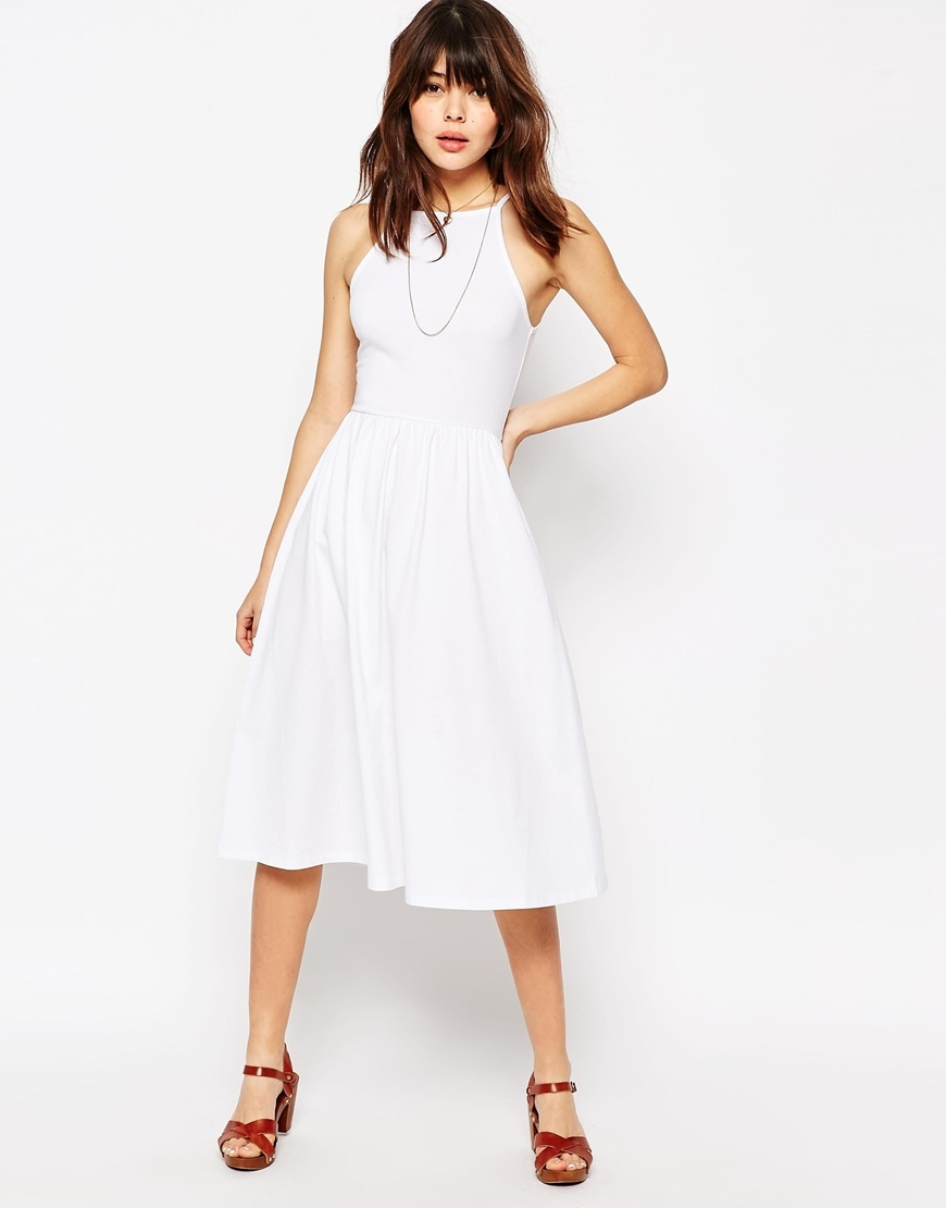 90's High Neck Midi Dress White - length: below the knee; pattern: plain; sleeve style: sleeveless; predominant colour: white; occasions: casual, evening, creative work; fit: fitted at waist & bust; style: fit & flare; fibres: polyester/polyamide - stretch; neckline: crew; sleeve length: sleeveless; pattern type: fabric; texture group: jersey - stretchy/drapey; season: s/s 2016; wardrobe: basic