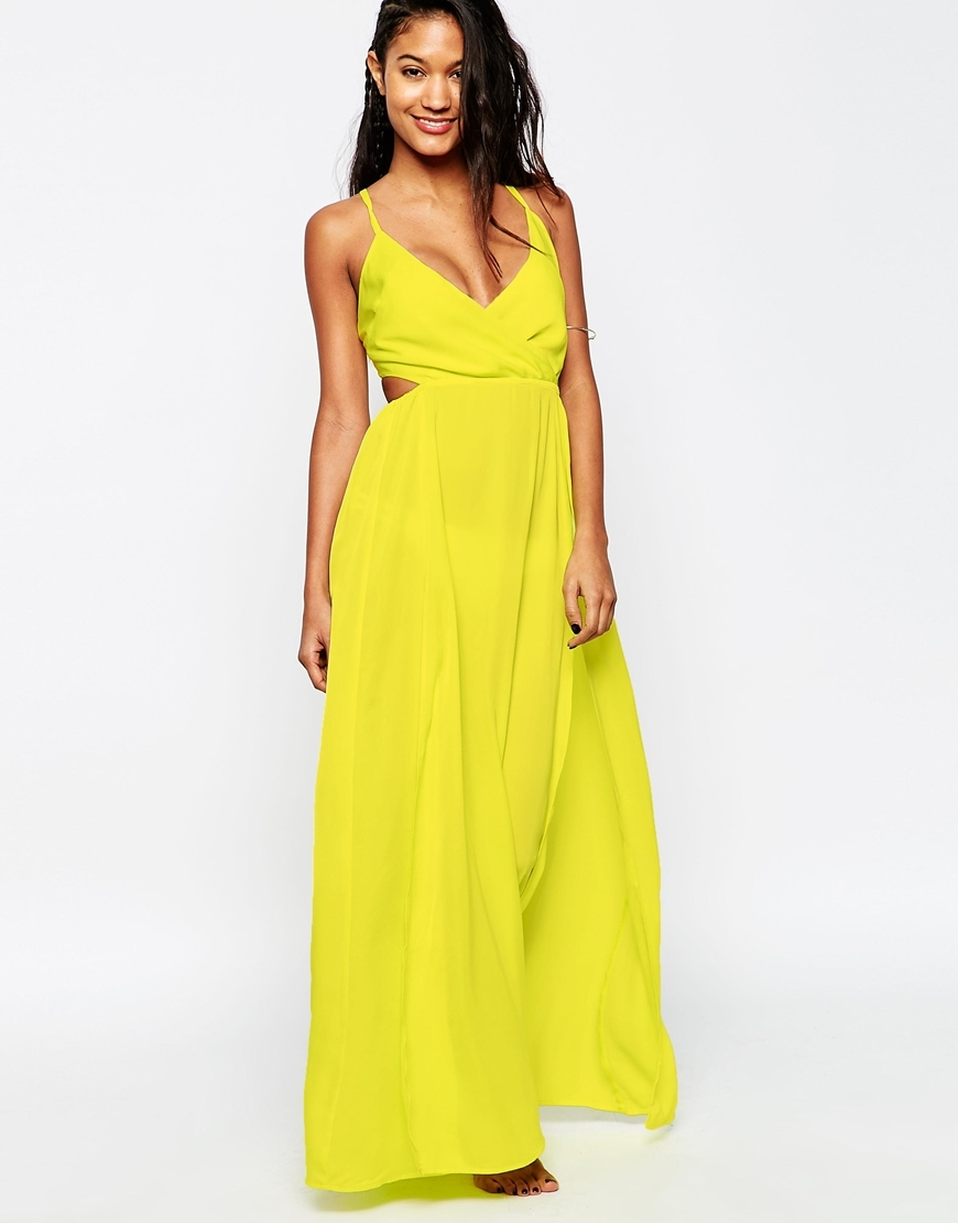 Washed Satin Wrap Maxi Beach Dress Lime - neckline: low v-neck; pattern: plain; sleeve style: sleeveless; style: maxi dress; predominant colour: yellow; occasions: evening; length: floor length; fit: body skimming; fibres: polyester/polyamide - 100%; waist detail: cut out detail; sleeve length: sleeveless; pattern type: fabric; texture group: jersey - stretchy/drapey; season: s/s 2016; wardrobe: event