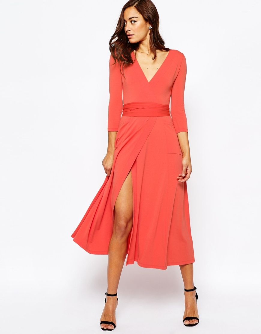 Wrap Maxi Dress In Jersey Crepe Coral - style: faux wrap/wrap; length: calf length; neckline: v-neck; pattern: plain; predominant colour: bright orange; occasions: evening; fit: body skimming; fibres: polyester/polyamide - stretch; sleeve length: 3/4 length; sleeve style: standard; pattern type: fabric; texture group: jersey - stretchy/drapey; season: s/s 2016; wardrobe: event
