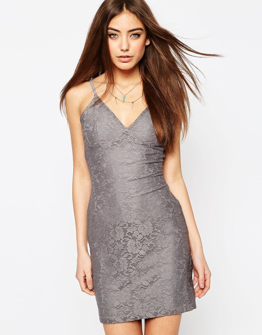 Lace Cami Dress Grey - length: mid thigh; neckline: low v-neck; sleeve style: spaghetti straps; fit: tight; pattern: plain; style: bodycon; predominant colour: light grey; occasions: evening; fibres: polyester/polyamide - stretch; sleeve length: sleeveless; texture group: jersey - clingy; pattern type: fabric; season: s/s 2016