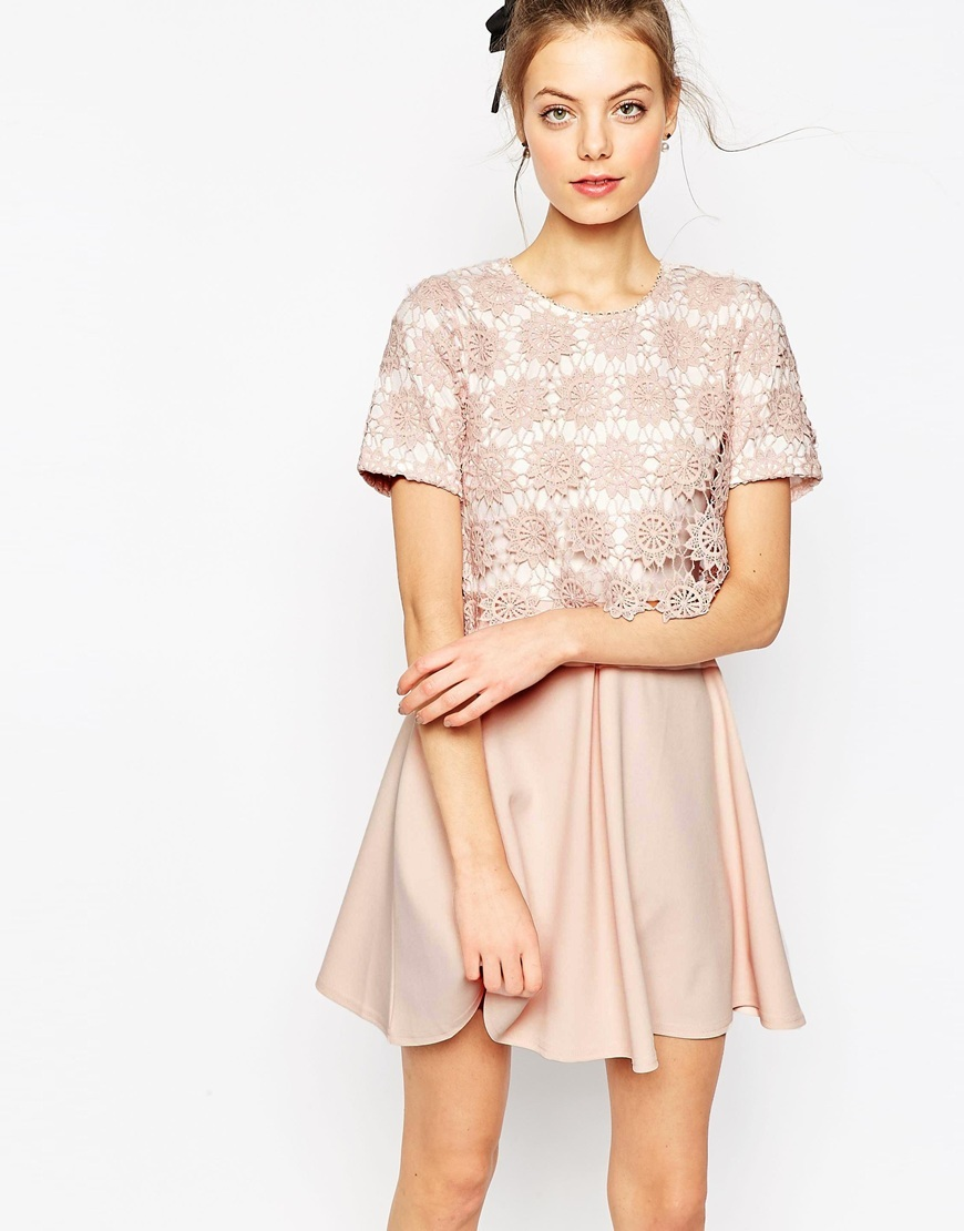 Overlay Lace Dress With Scuba Skirt Pink - length: mid thigh; secondary colour: ivory/cream; predominant colour: blush; occasions: evening; fit: fitted at waist & bust; style: fit & flare; fibres: polyester/polyamide - stretch; neckline: crew; sleeve length: short sleeve; sleeve style: standard; texture group: lace; pattern type: fabric; pattern size: standard; pattern: patterned/print; season: s/s 2016; wardrobe: event