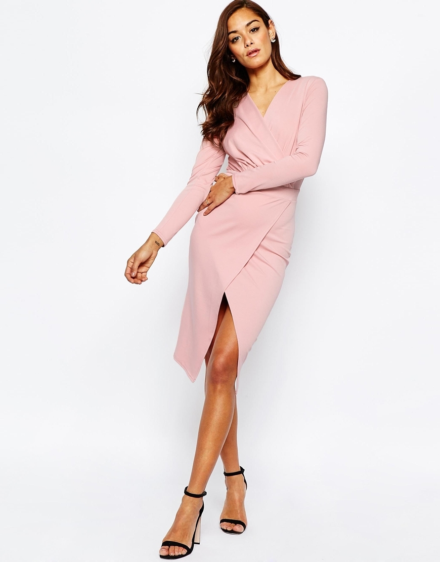 Twist Drape Front Midi Pencil Dress Dusty Pink - style: faux wrap/wrap; length: below the knee; neckline: v-neck; pattern: plain; predominant colour: blush; occasions: evening; fit: body skimming; fibres: polyester/polyamide - stretch; sleeve length: long sleeve; sleeve style: standard; pattern type: fabric; texture group: jersey - stretchy/drapey; season: s/s 2016