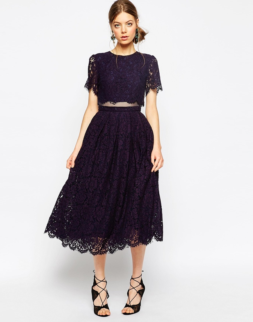 Lace Crop Top Midi Prom Dress Navy - length: calf length; style: prom dress; predominant colour: navy; fit: fitted at waist & bust; fibres: cotton - mix; occasions: occasion; neckline: crew; waist detail: cut out detail; sleeve length: short sleeve; sleeve style: standard; texture group: lace; pattern type: fabric; pattern size: standard; pattern: patterned/print; season: s/s 2016; wardrobe: event