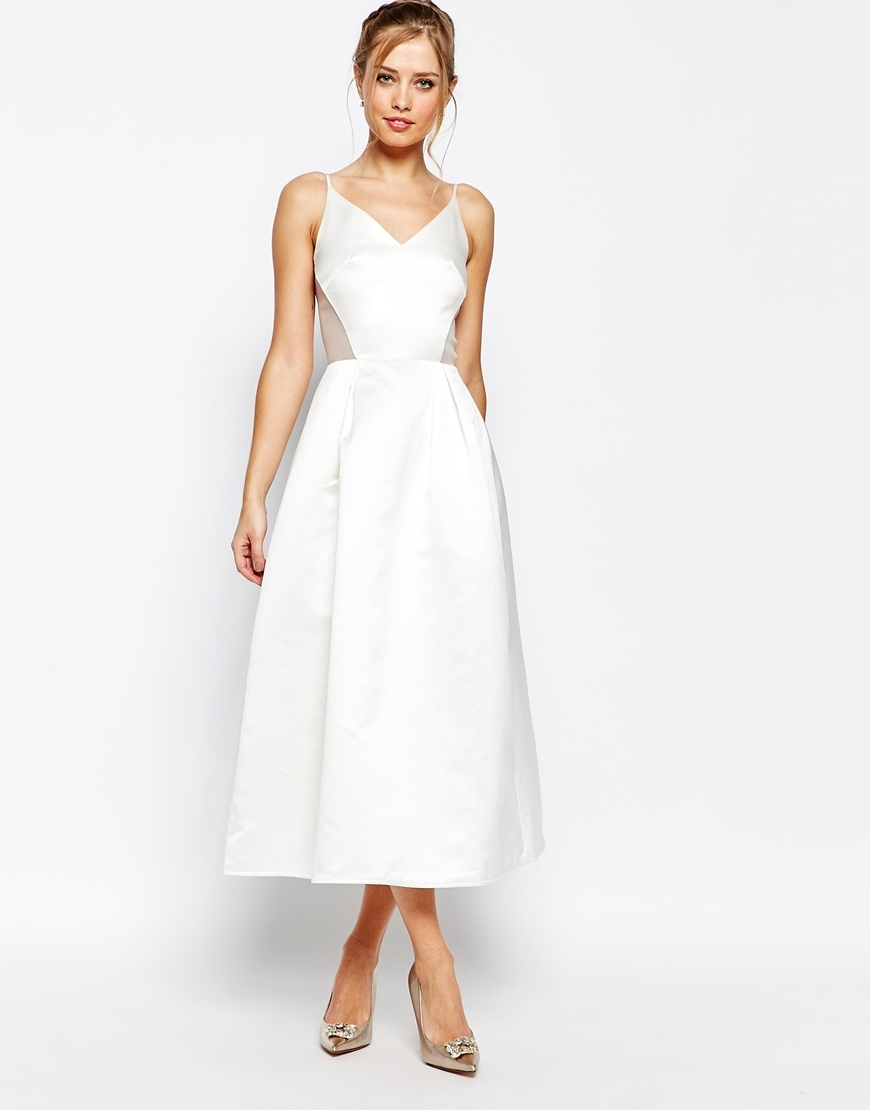 Midi Prom Dress In Sateen With Mesh Inserts At Waist White - length: calf length; neckline: v-neck; sleeve style: spaghetti straps; pattern: plain; style: prom dress; predominant colour: white; occasions: evening, occasion; fit: fitted at waist & bust; fibres: polyester/polyamide - 100%; sleeve length: sleeveless; texture group: structured shiny - satin/tafetta/silk etc.; pattern type: fabric; season: s/s 2016