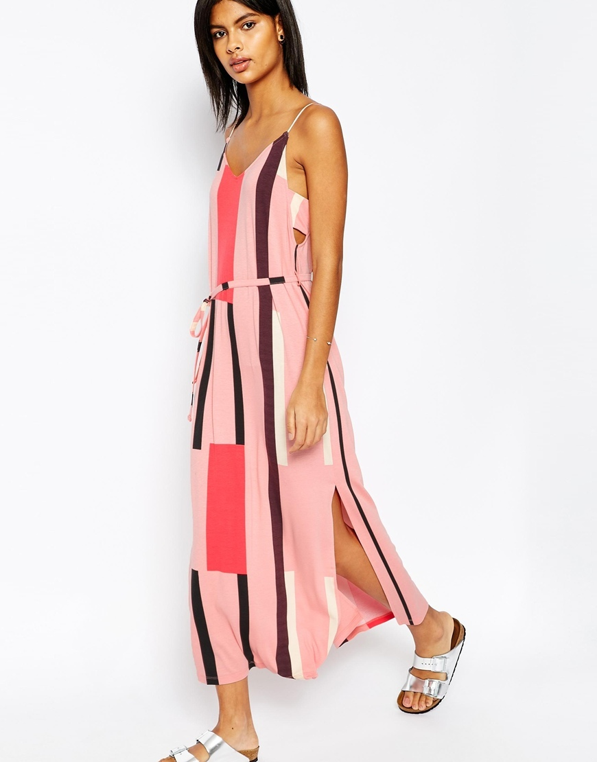 Tab Side Maxi Dress In Block Print Pink - neckline: low v-neck; sleeve style: spaghetti straps; style: maxi dress; pattern: striped; length: ankle length; waist detail: belted waist/tie at waist/drawstring; predominant colour: pink; secondary colour: chocolate brown; occasions: casual; fit: body skimming; fibres: viscose/rayon - stretch; hip detail: slits at hip; sleeve length: sleeveless; pattern type: fabric; texture group: jersey - stretchy/drapey; multicoloured: multicoloured; season: s/s 2016; wardrobe: highlight