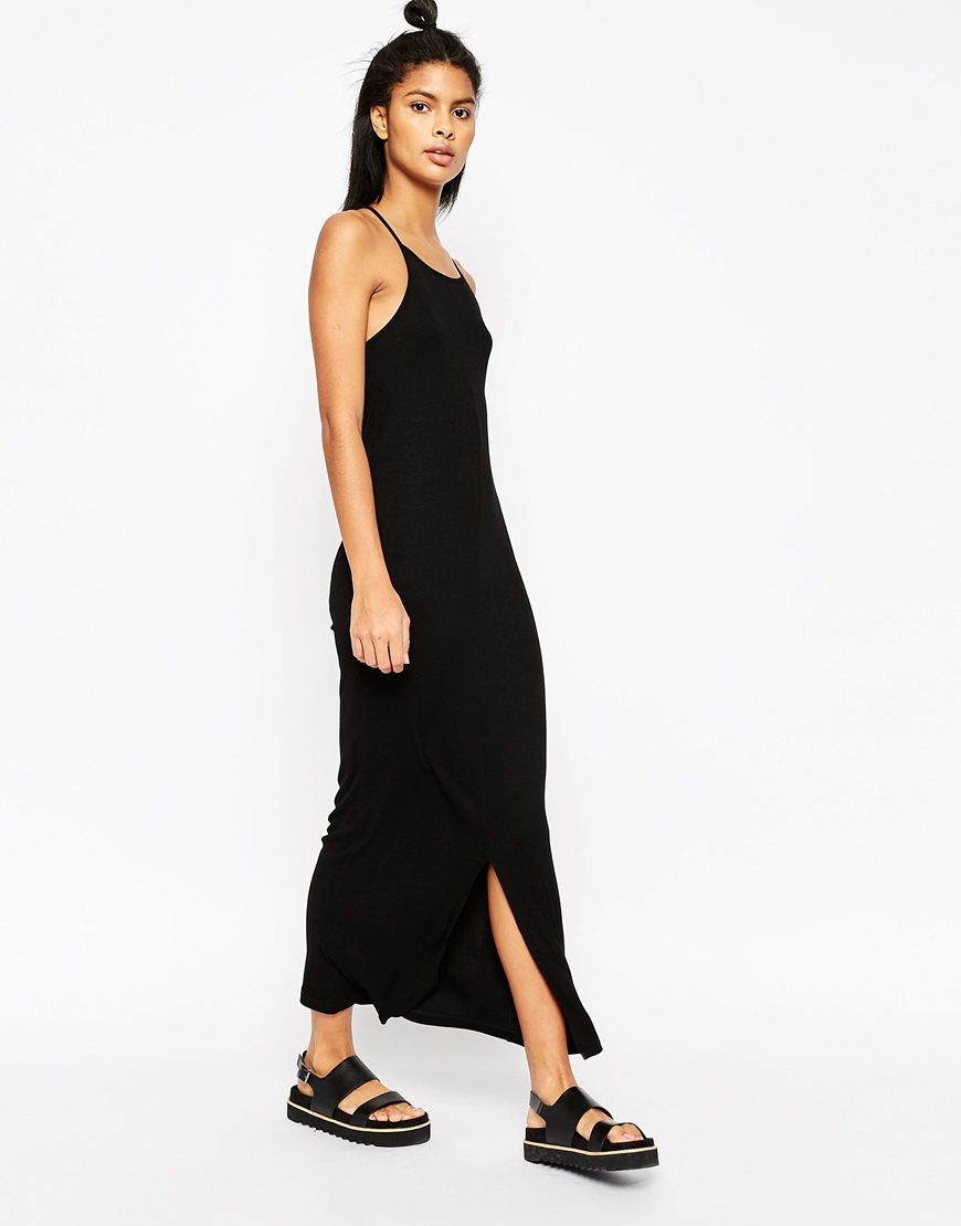 Maxi Dress With 90s High Neck In Rib Black - sleeve style: spaghetti straps; pattern: plain; style: maxi dress; length: ankle length; predominant colour: black; occasions: evening; fit: body skimming; neckline: scoop; fibres: viscose/rayon - stretch; hip detail: slits at hip; sleeve length: sleeveless; pattern type: fabric; texture group: jersey - stretchy/drapey; season: s/s 2016; wardrobe: event