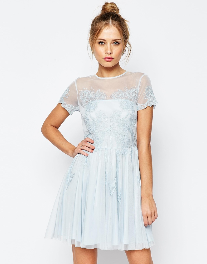 Salon Lace Applique Mesh Mini Skater Dress Blue - length: mid thigh; pattern: plain; predominant colour: pale blue; occasions: evening; fit: fitted at waist & bust; style: fit & flare; fibres: polyester/polyamide - 100%; neckline: crew; hip detail: subtle/flattering hip detail; sleeve length: short sleeve; sleeve style: standard; pattern type: fabric; texture group: other - light to midweight; embellishment: lace; shoulder detail: sheer at shoulder; season: s/s 2016; wardrobe: event; embellishment location: top