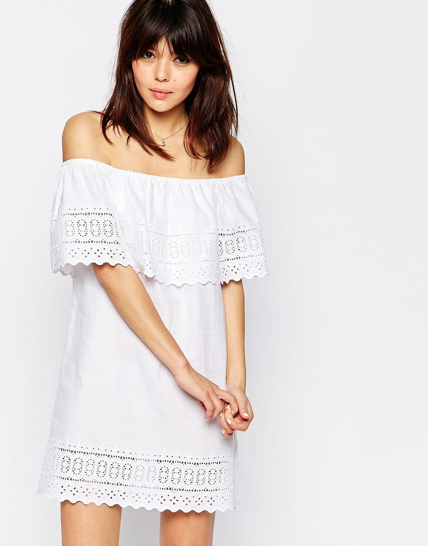 Broderie Off Shoulder Sundress White - length: mid thigh; neckline: off the shoulder; fit: loose; pattern: plain; style: sundress; predominant colour: white; occasions: casual; fibres: cotton - mix; sleeve length: short sleeve; sleeve style: standard; pattern type: fabric; embellishment: lace; texture group: broiderie anglais; season: s/s 2016; wardrobe: highlight