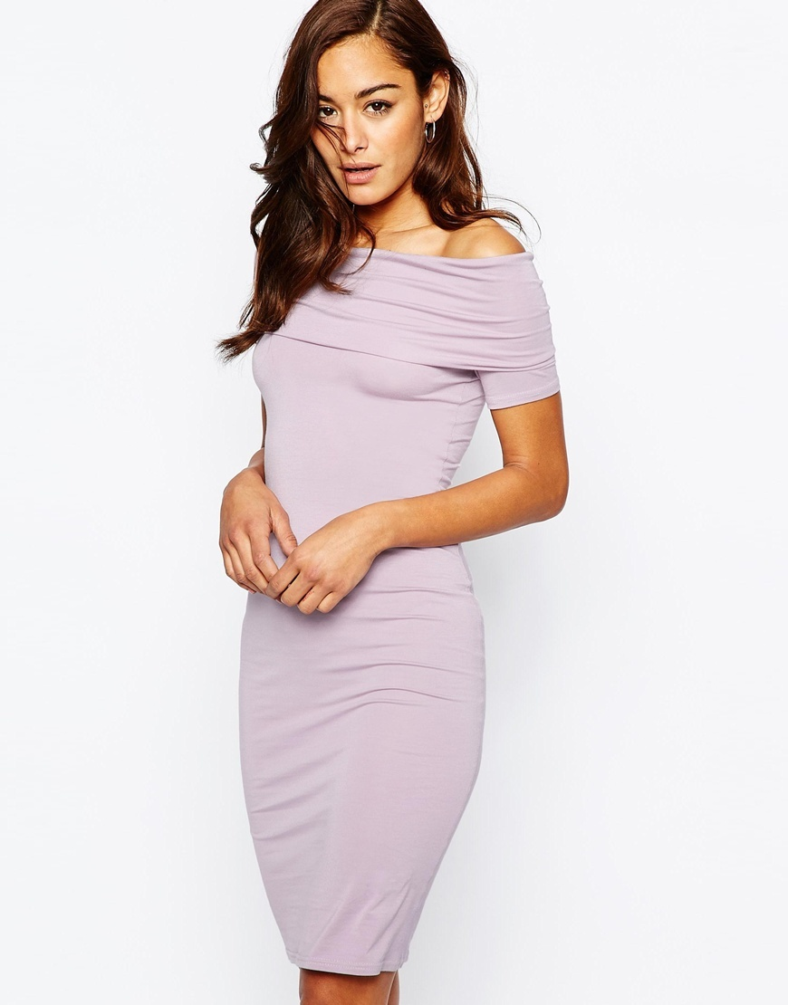 Bardot Off Shoulder Midi Bodycon Dress Dusty Lilac - neckline: off the shoulder; fit: tight; pattern: plain; style: bodycon; predominant colour: lilac; occasions: evening; length: on the knee; fibres: viscose/rayon - stretch; sleeve length: short sleeve; sleeve style: standard; texture group: jersey - clingy; pattern type: fabric; season: s/s 2016; wardrobe: event