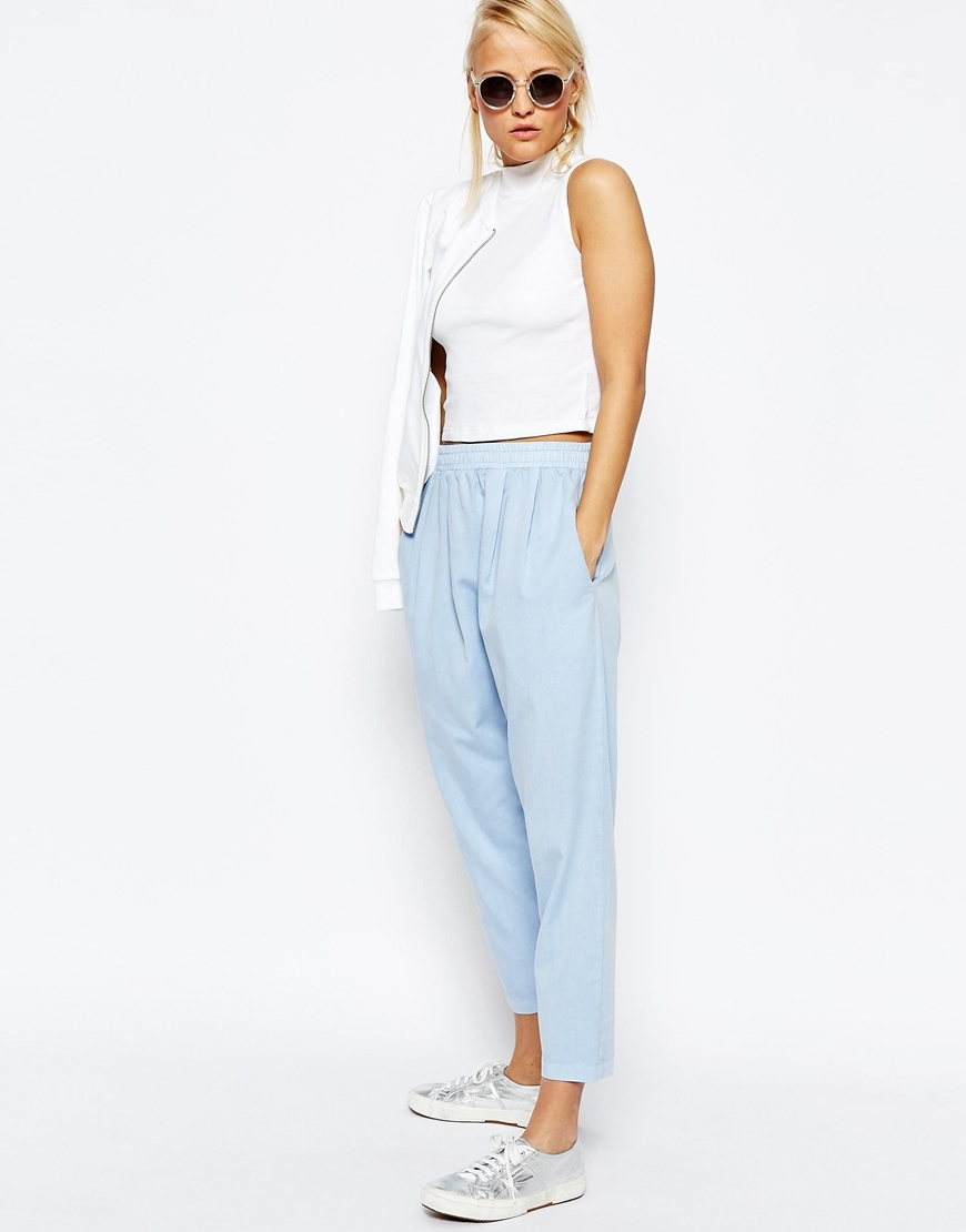 Washed Casual Tapered Peg Trousers Blue - pattern: plain; style: peg leg; waist: mid/regular rise; predominant colour: pale blue; occasions: casual; length: ankle length; fibres: cotton - mix; fit: tapered; pattern type: fabric; texture group: other - light to midweight; season: s/s 2016; wardrobe: highlight