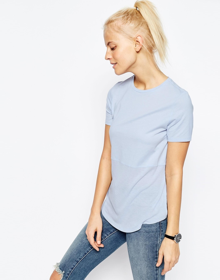 Contrast Ribbed Panel T Shirt Dusty Blue - pattern: plain; style: t-shirt; predominant colour: pale blue; occasions: casual; length: standard; fibres: cotton - 100%; fit: body skimming; neckline: crew; sleeve length: short sleeve; sleeve style: standard; pattern type: fabric; texture group: jersey - stretchy/drapey; season: s/s 2016; wardrobe: highlight