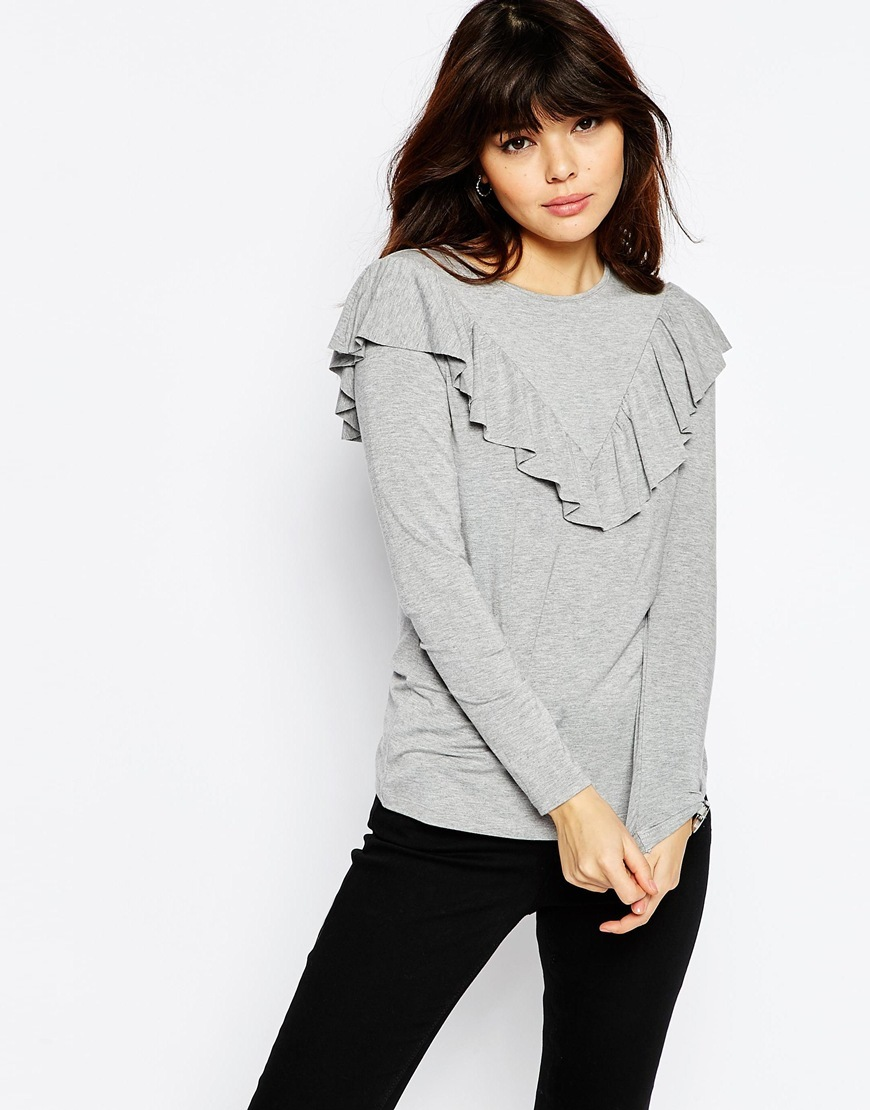 Top With Long Sleeve And Ruffle Front Grey Marl - pattern: plain; predominant colour: light grey; occasions: casual; length: standard; style: top; fibres: viscose/rayon - stretch; fit: body skimming; neckline: crew; sleeve length: long sleeve; sleeve style: standard; bust detail: bulky details at bust; pattern type: fabric; texture group: jersey - stretchy/drapey; season: s/s 2016; wardrobe: highlight
