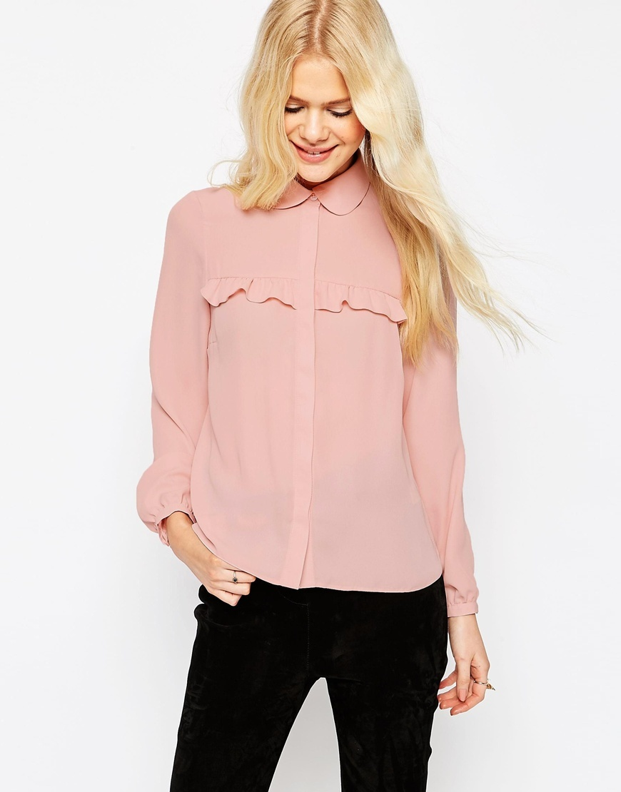 Ruffle Blouse With Peterpan Collar Blush - neckline: shirt collar/peter pan/zip with opening; pattern: plain; style: shirt; predominant colour: pink; occasions: casual, creative work; length: standard; fibres: polyester/polyamide - 100%; fit: loose; sleeve length: long sleeve; sleeve style: standard; texture group: crepes; bust detail: bulky details at bust; pattern type: fabric; season: s/s 2016; wardrobe: highlight