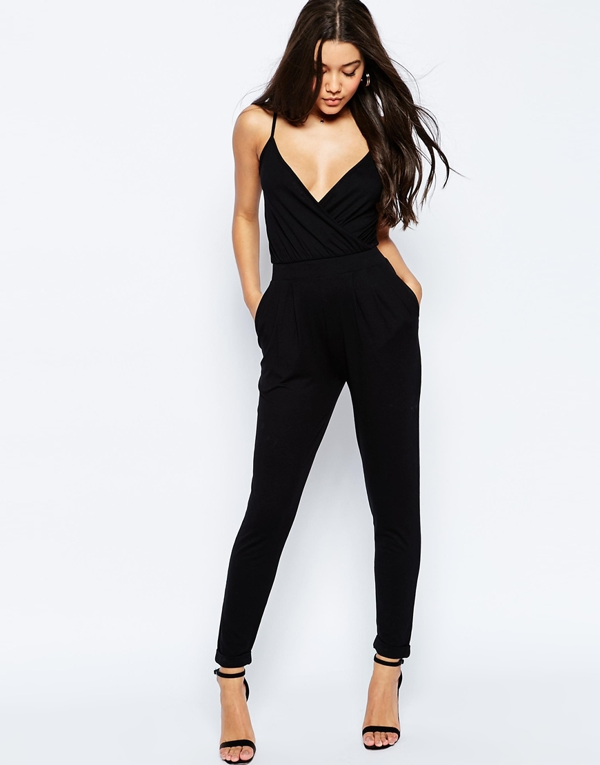 Cami Wrap Front Jersey Jumpsuit With Peg Leg Black - length: standard; neckline: plunge; sleeve style: spaghetti straps; fit: tailored/fitted; pattern: plain; predominant colour: black; occasions: evening, occasion; fibres: viscose/rayon - stretch; sleeve length: sleeveless; texture group: crepes; style: jumpsuit; pattern type: fabric; season: s/s 2016; wardrobe: event