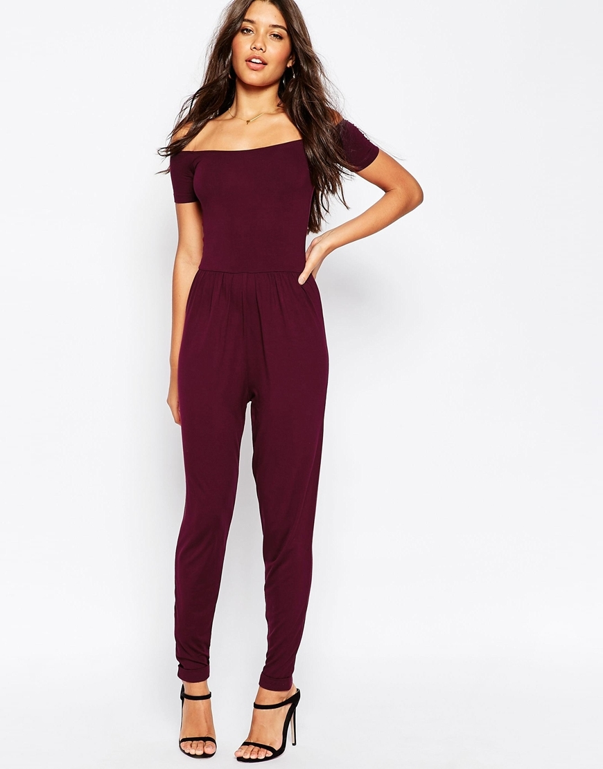 Bardot Jersey Jumpsuit With Peg Leg Oxblood - length: standard; neckline: off the shoulder; fit: tailored/fitted; pattern: plain; predominant colour: burgundy; occasions: evening, occasion; fibres: viscose/rayon - stretch; sleeve length: short sleeve; sleeve style: standard; style: jumpsuit; pattern type: fabric; texture group: jersey - stretchy/drapey; season: s/s 2016